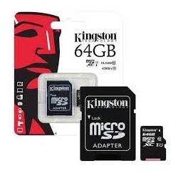 KINGSTON MICRO SD 64 GB UHS-I CLASSE 10 CON ADATTATORE SD